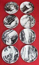 """1965 Piero Fornasetti (8) 4"""" Adam Plate Set w/ Box - Coasters - Alfred Dunhill"""