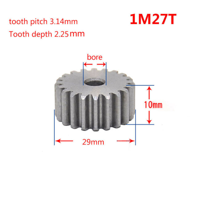 1 Mod 27T Spur Gear 45# Steel Pinion Gear Thickness 10mm Outer Dia 29mm x 1Pcs