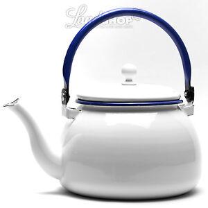 Nostalgie Wasserkessel Teekessel Retro Design Weiß Mit Blauem Rand
