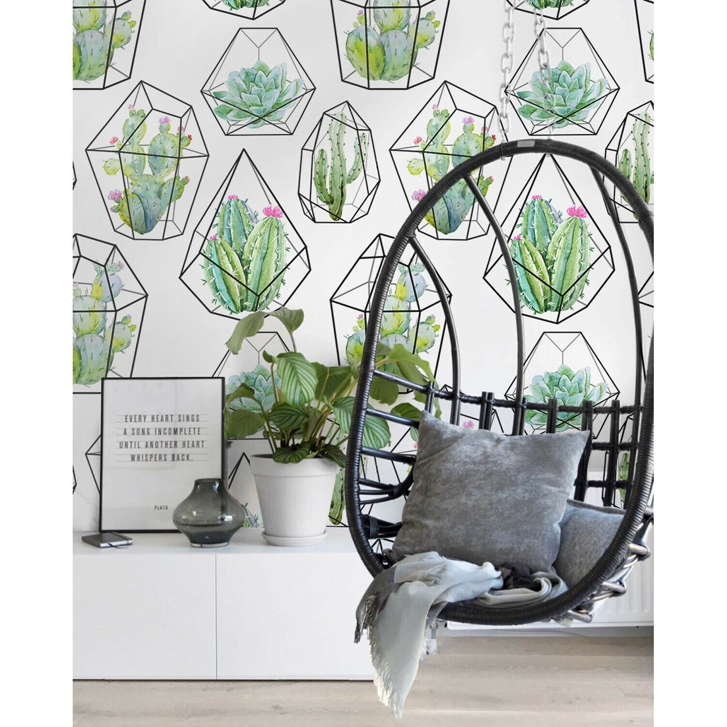 Cactus Cacti Pattern Adhesive removable wallpaper Wall Mural Decal