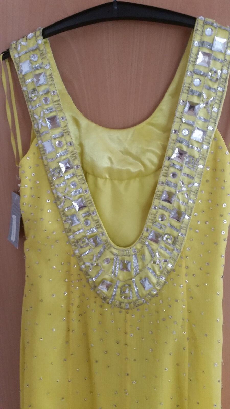 Apartes gelbes Abendkleid mit Strass, Perlen Perlen Perlen  Pailetten von Heine Gr. 42   Innovation    New Style  0598ce