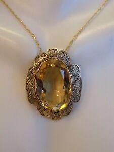 Antique 14k yellow gold large citrine pendant with filagree design image is loading antique 14k yellow gold large citrine pendant with aloadofball Choice Image