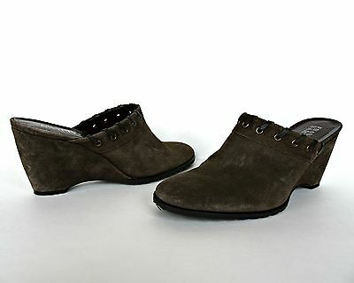 Franco Sarto Womens Mules Heels Shoes 8 Leather Slip On Dark Green Wedge Suede