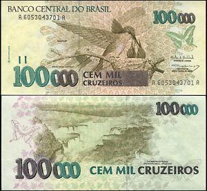 Bresil-100000-Cruzeiros-NEUF-ND-1993-Billet-de-banque-Cat-P-235b
