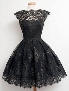 Women-Fashionable-Cap-Sleeve-Round-Collar-Lace-A-Line-Dress-Vintage