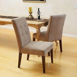 Set of 4 elegant tufted design cream linen upholstered for Elegant upholstered dining chairs
