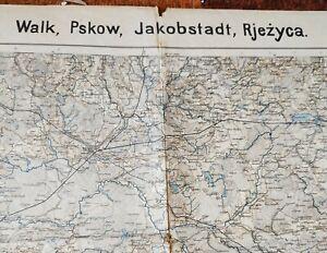Kriegskarte-1-Weltkrieg-von-Walk-Pskow-Jakobstadt-Rjezyca-1-300-000-1917