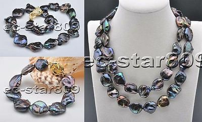 freshwater pearl black oblone rebron keshi 25-30mm loose beads necklace 14inch