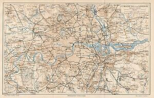 Cartina Stradale Londra.B6054 Londra E Dintorni Carta Geografica Antica Del 1890 Old Map Ebay