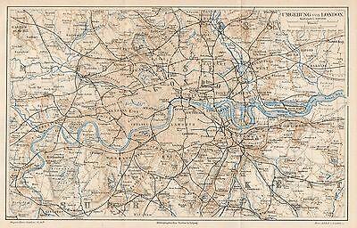 Cartina Geografica Londra E Dintorni.B6054 Londra E Dintorni Carta Geografica Antica Del 1890 Old
