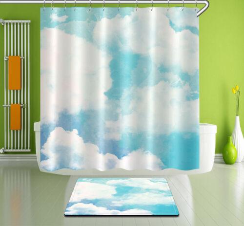 """72X72/""""//72X79/""""Bathroom Fabric Shower Curtain /& Mat /&12Hook--Blue Sky Cloud 3144"""