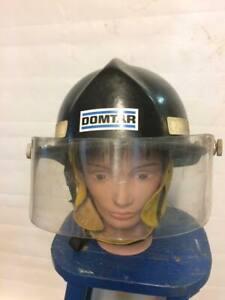 1980s-Vintage-Fireman-Firefighter-Helmet-Safeco-Neck-Skirt-Black