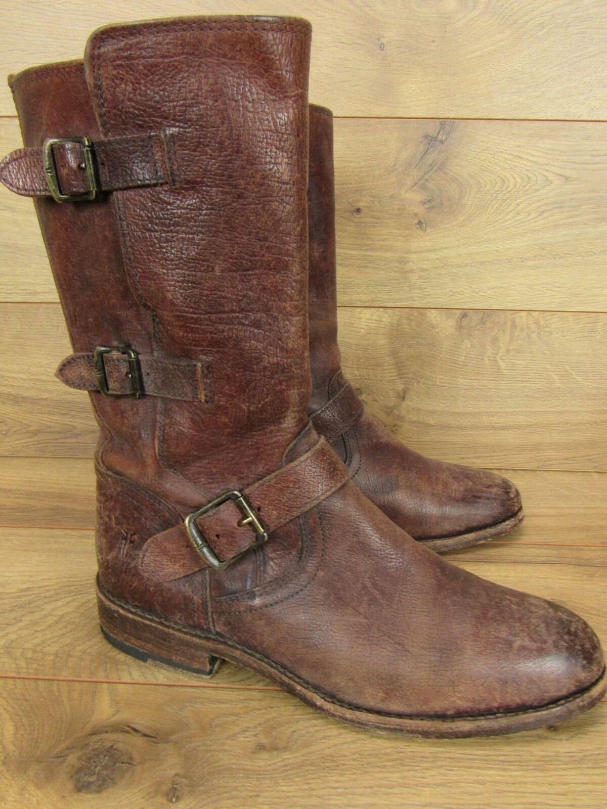 Frye Jayden envejecido marrón cuero moto botas M