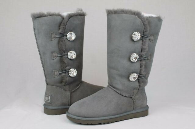 ugg australia bailey button bling triplet charcoal grey size 11 us rh ebay com