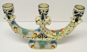 Traditional-Mexican-Folk-Art-La-Flor-Talavera-Pottery-3-Arm-Candelabra
