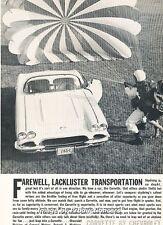 1961 Corvette - Parachute - Original Advertisement Print Art Car Ad J661