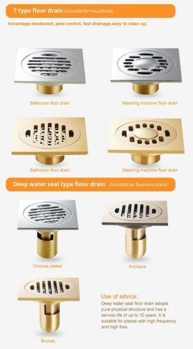 Details about  /Drain Trap Waste Grate GRK Floor Drains Square 10cm Shower  Drain Brass Bathroom