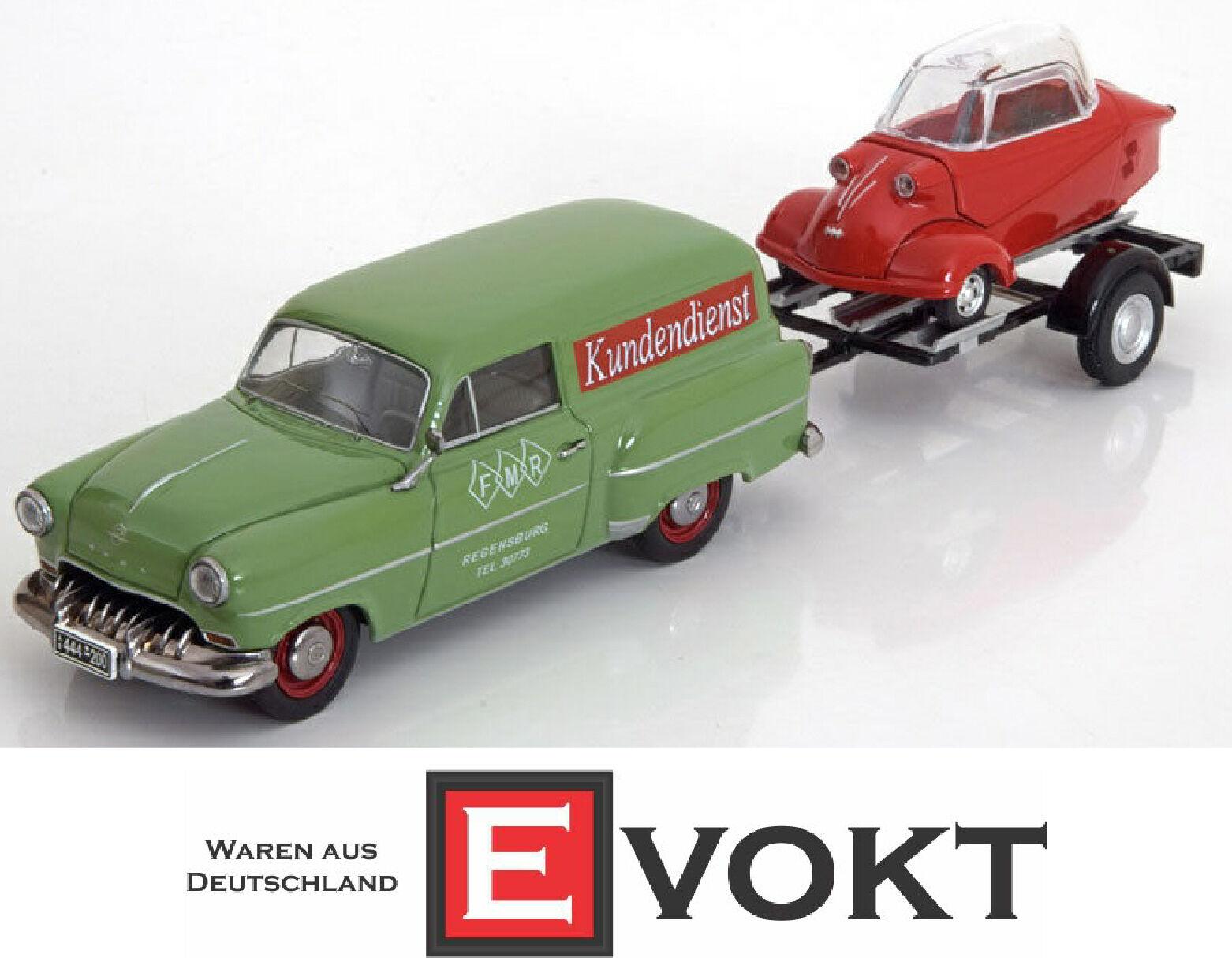 Schuco opel olympia - karawane mit anhänger  messerschmitt - service  1 43