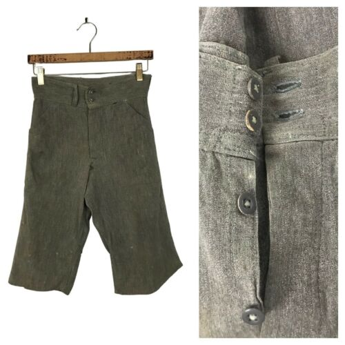 1930s Workwear Shorts / Distressed Gray Button Fly