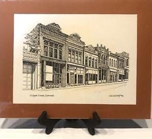 Vintage 1980 GE Geivett Artist Cripple Creek Colorado Pen and Ink Print Matted