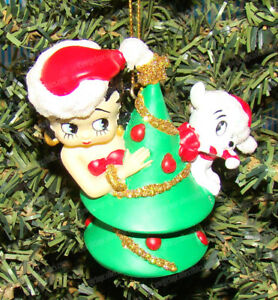 Betty Boop Dressed in Red with Santa Hat Christmas Ornament NEW UNUSED