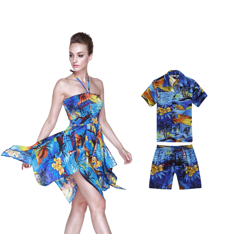 Mother Son Matching Hawaiian Luau Party Dance Dress Gypsy Shirt Sunset Blue