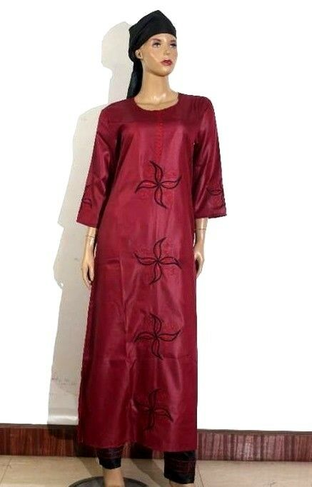 African Womens Wear Shirt&Trouser Embroidered Long Caftan Scarf & Pant Size L,XL