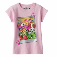 shopkins Girls Glitter Polaroid Pink Tee Shirt Size 6x S