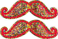 Shwings Rainbow Sparkle Mustache Clip On Wings For Shoes Designer 70104