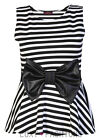 NEW LADIES/WOMENS STRIPE PRINT BOW PEPLUM SKATER TOP FLARED VEST PLUS SIZE 8-22