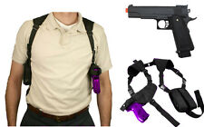 Halloween Costume Pistol Shoulder Holster Magazine w/ Prop Airsoft Gun CV2909