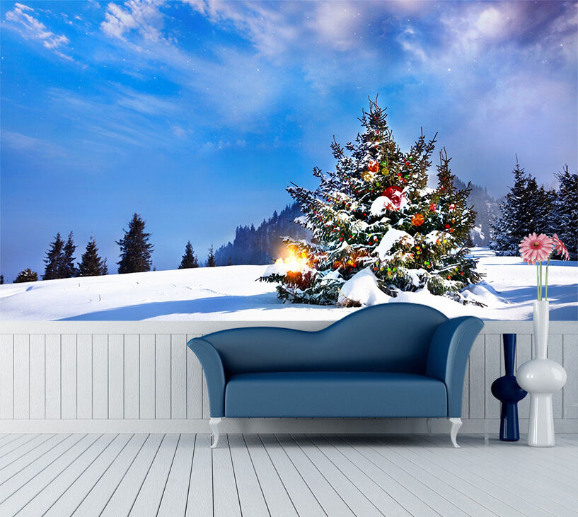 3D Snow, tree 6576 Wall Paper Print Wall Decal Deco Indoor Wall Murals