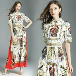 Womens-Long-Floral-Printed-Party-Occident-Maxi-Dress-Runway-Elegant-Summer-Dress