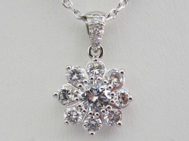 14k. White gold Natural Diamond Cluster Pendant, New