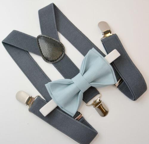 Kids Boys Mens Baby Dark Gray Suspenders /& Dusty Blue Bow tie Infant ADULT SET