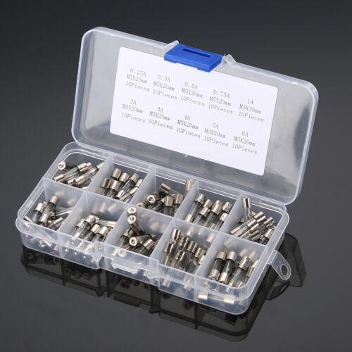 100 Stück 5x20mm Feinsicherung Glassicherung Glasrohr Sicherung Set 0.25A~6A KG