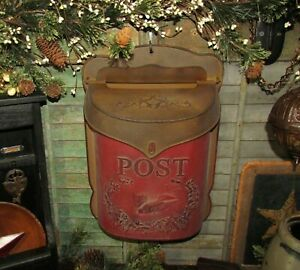 Primitive-Antique-Vtg-Style-Red-amp-Rust-Bird-Tin-Metal-Hanging-Mail-Post-Box