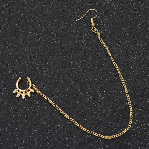 1pc Women//Men Crystal Fake Ring Nose Earring Silver//Gold Chain Jewelry Piercing