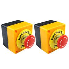 2pcs Red Mushroom Emergency Stop Shut Off Push Button Switch No Nc 22mm Cnc Ge