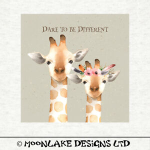 now fabric Fabric Cushion Craft Quilting Panel Giraffe watercolour Grunge