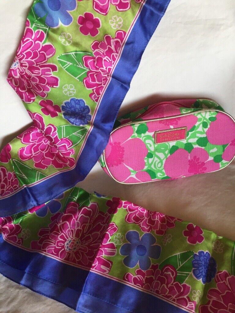 Estée Lauder Lilly Pulitzer Bolsa De Maquillaje Rosa, Verde Y Azul Oblongo Seda Bufanda Lote