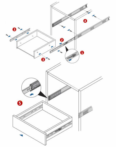 Soft Close//Push to Open Full Extension Drawer Slide Ball Bearing Side Mount