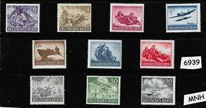Third Reich Germany stamps mixed 1943 & 1944 Military Hero's Wehrmacht Luftwaffe