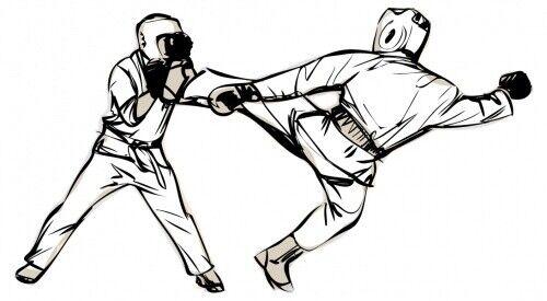 Wandtattoo Kampfsport Kickboxer im Duell Jugendzimmer Wandsticker