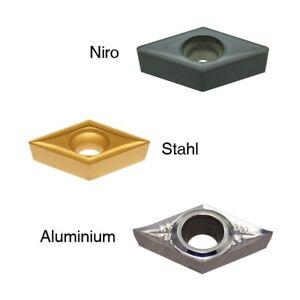 10 unidades placas de inflexión forma dcgt/dcmt todos tamaños para aluminio acero niro nuevo