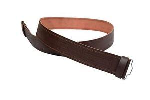 New Men's Brown Celtic Design Embossed Leather Kilt Belt For Tartan Kilts