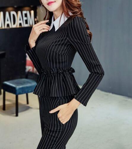 élégant Anzug komplett Frau Nadelstreifen Langarm-Hemd Hose 3920