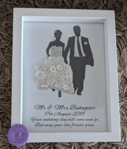 Unique Personalised Wedding silhouette Button Art Gift Anniversary Bride /& Groom