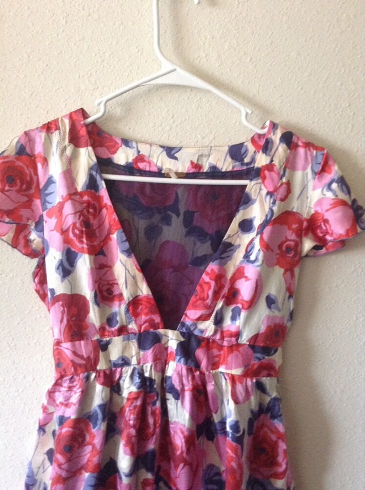 NWOT FREE PEOPLE PINK MULTICOLOR FLORAL FLORAL FLORAL DRESS SIZE 2 S 30f4bd