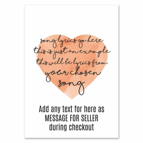 Kodaline The One Heart Print Music Song Lyric Personalised First Dance Gift Idea